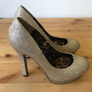 Betsey Johnson Gold Glitter Sparkle Platform Heels